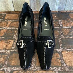 Prada Black Suede Kitten Heels